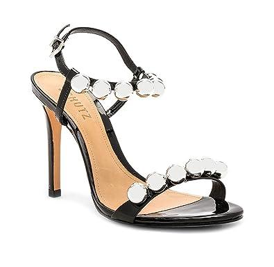 9b0e5fd06bf SCHUTZ Nellie Black Patent Leather High Heel Single Sole Pearl Detail  Dainty Sandal (5.5)