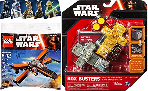 Star Wars Lego & Box Busters Battle of Yavin & Tusken Raider Attack Mini Spaceship Set + Poe's X-Wing Fighter Starship polybag with Bonus Stickers Yoda / Darth Vader / Chewbacca / C3PO & R2D2 toy