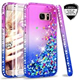 LeYi Galaxy S7 Edge Case with PET Screen Protector [2 pack], Girl Women 3D Glitter Liquid Cute Personalised Clear Transparent Silicone Gel TPU Shockproof Phone Cover for Samsung S7 Edge Purple Blue