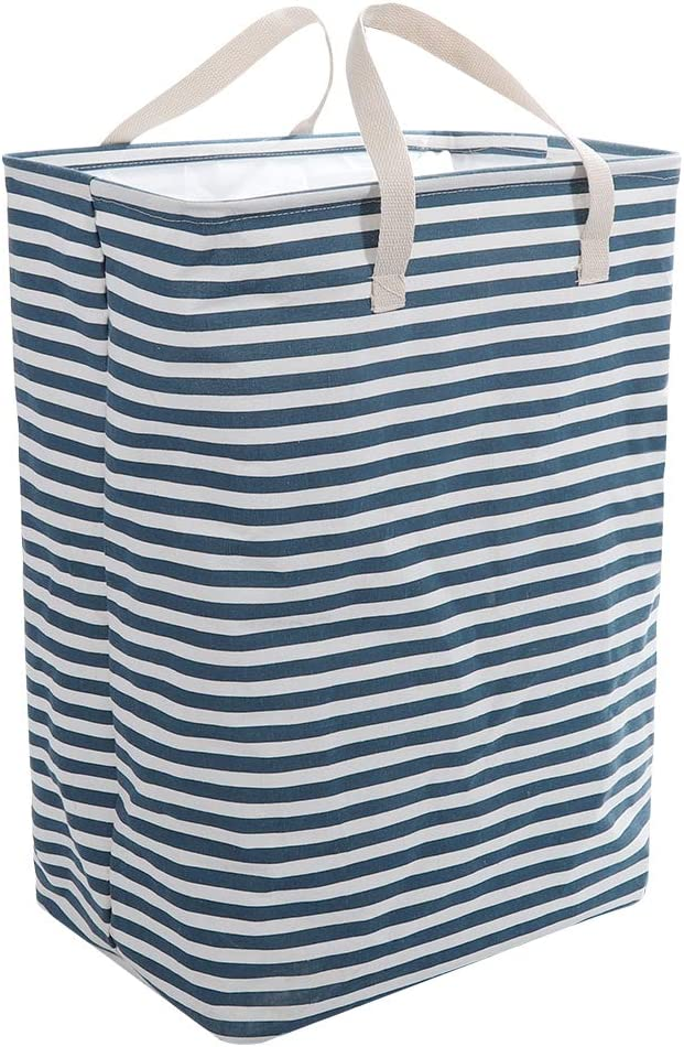 CHARMDI Laundry Hamper, Large Capacity 72L Clothes Hamper Collapsible Laundry Basket with Extended Handles Dirty Slim Hamper for Laundry Storage Clothes Toys (Blue and White)