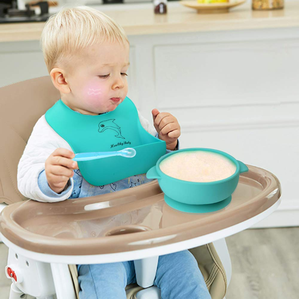 6 Pack Baby Bowl Plate Bibs Spoons Set, Strong Suction Best Toddler Self Feeding & Waterproof Bibs, 100% FDA Approved BPA Free Soft Silicone, Easy to Clean ...