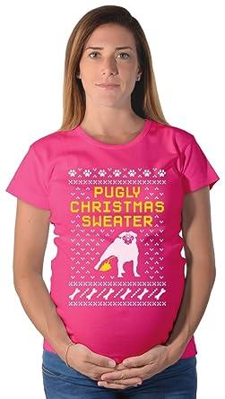 teestars pugly christmas sweater pug ugly christmas sweater maternity shirt small wow pink - Maternity Ugly Christmas Sweater