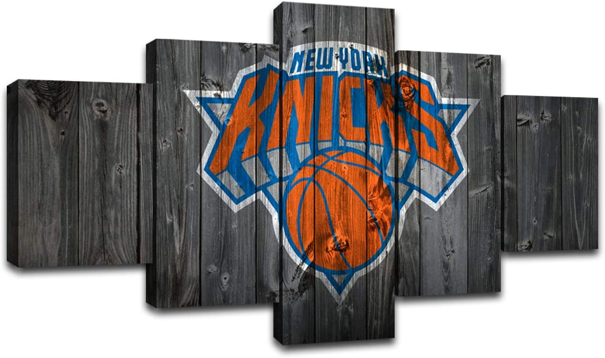 MIAUEN New York Knicks Wall Art Posters Pictures Home Decor Canvas Prints 5 Piece Basketball Sports Decoration Paintings Ready to Hang(60''Wx32''H)