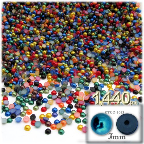 The Crafts Outlet 1440-Piece Pearl Finish Half Dome Round Beads, 3mm, Jewel Tone Mix
