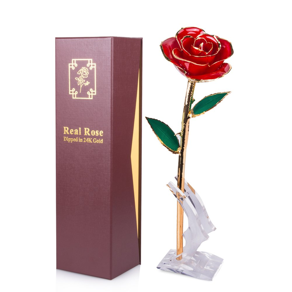Sinvitron Gold Dipped Rose, Long Stem 24k Gold Dipped Real Rose Lasted Forever with Stand, Best for Her SVT-H-BO142-RD