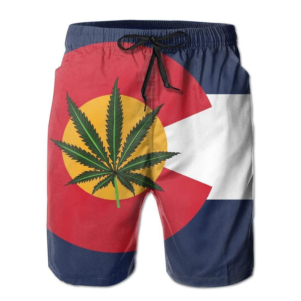 yuqiang ZrGo Mens Colorado Flag Legal Weed Quick-Dry Summer Beach Surfing Board Shorts Swim Trunks Cargo Shorts