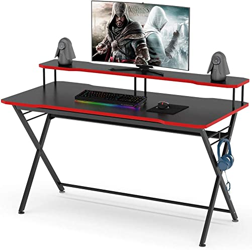 Tribesigns 55 inch Large Gaming Desk with Monitor Stand, Ergonomic PC Gaming Table Gamer Computer Desk with Headphone Hook for Home Office