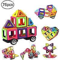76 PCS Mini Building Blocks Set Magnetic Tiles, DIY Creative STEM Building Block Preschool Educational Construction Kit 3D Magnetic Toys For Boys Girls Kids Toddlers Children With Storage Box