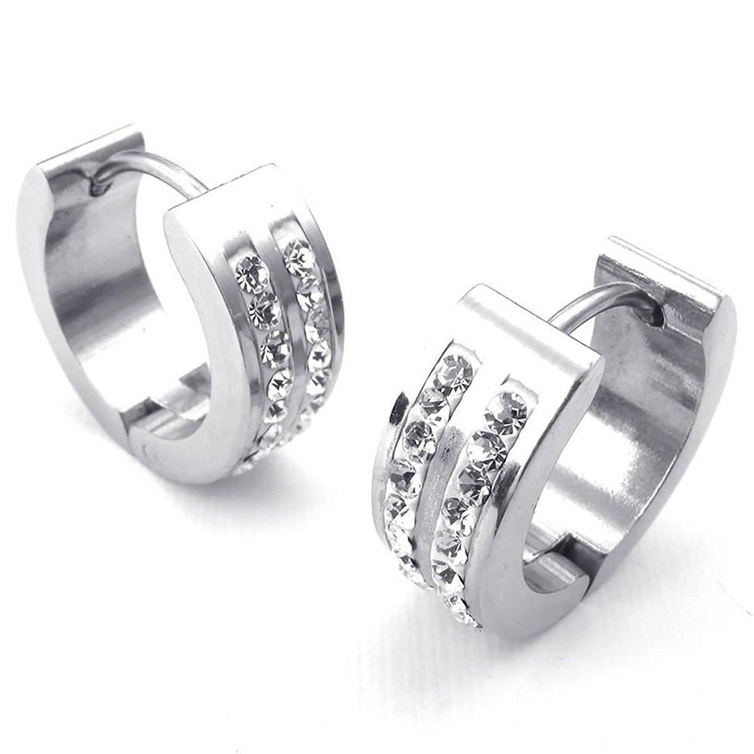 SODIAL(R)Jewelry Men's Women's Earrings, Hoop Earrings, Zirconia Diamond Stainless Steel, Silver by SODIAL(R) (Image #3)