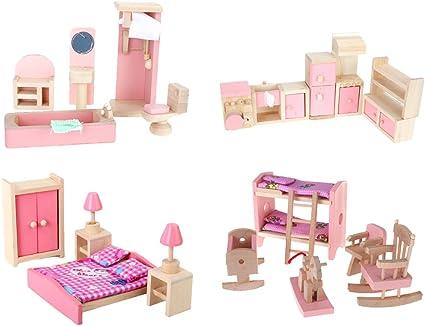 Amazon Com 4 Set Dollhouse Furniture Kid Toy Bathroom Kid Room Bedroom Kitchen Set Toys Games