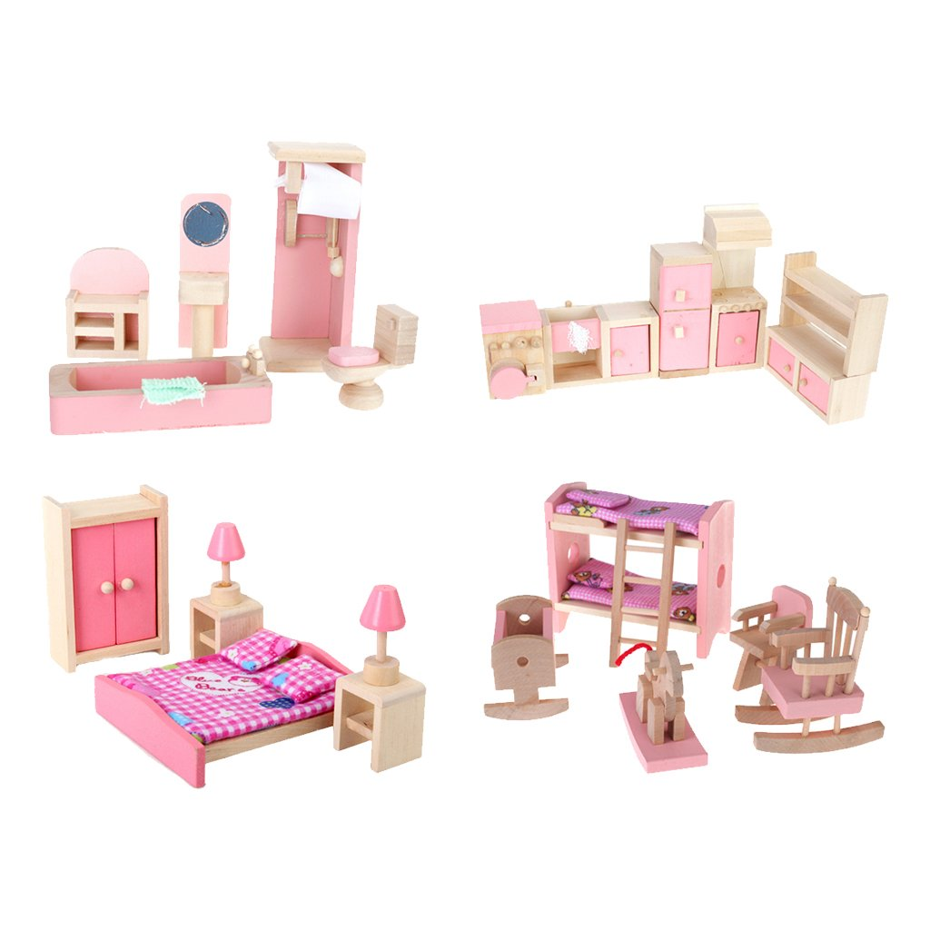 4 Set Dollhouse Furniture Kid Toy Bathroom Kid Room Bedroom Kitchen Set by Generic