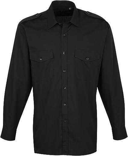 Premier - Camisa lisa de manga larga de caballero/hombre ...