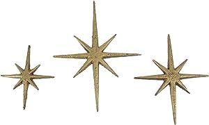 Zeckos Set of Three Metallic Gold Cast Iron 8 Pointed Atomic Starburst Wall Hangings Mid Century Modern Stars