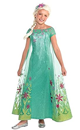 Amazon.com: Elsa Disney Frozen Fever vestuario, Grande: Clothing
