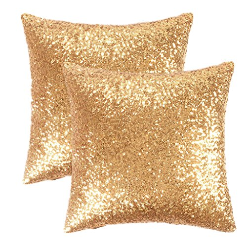 PONY DANCE Gold Sequin Pillow Cover - Glitter Sequins Stylish Cushion Covers Xmas Home Decor Stylish Solid Throw Pillow Covers Cushion Shams for Sofa, 18 by 18 inches, Gold, 2 Pieces