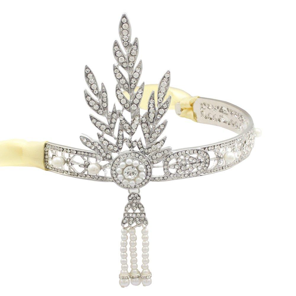 Flapper Bridal 1920s Style Prom Leaf Pearl Downton Head Crown Hair Dress Band Tiara Gift Box 80368