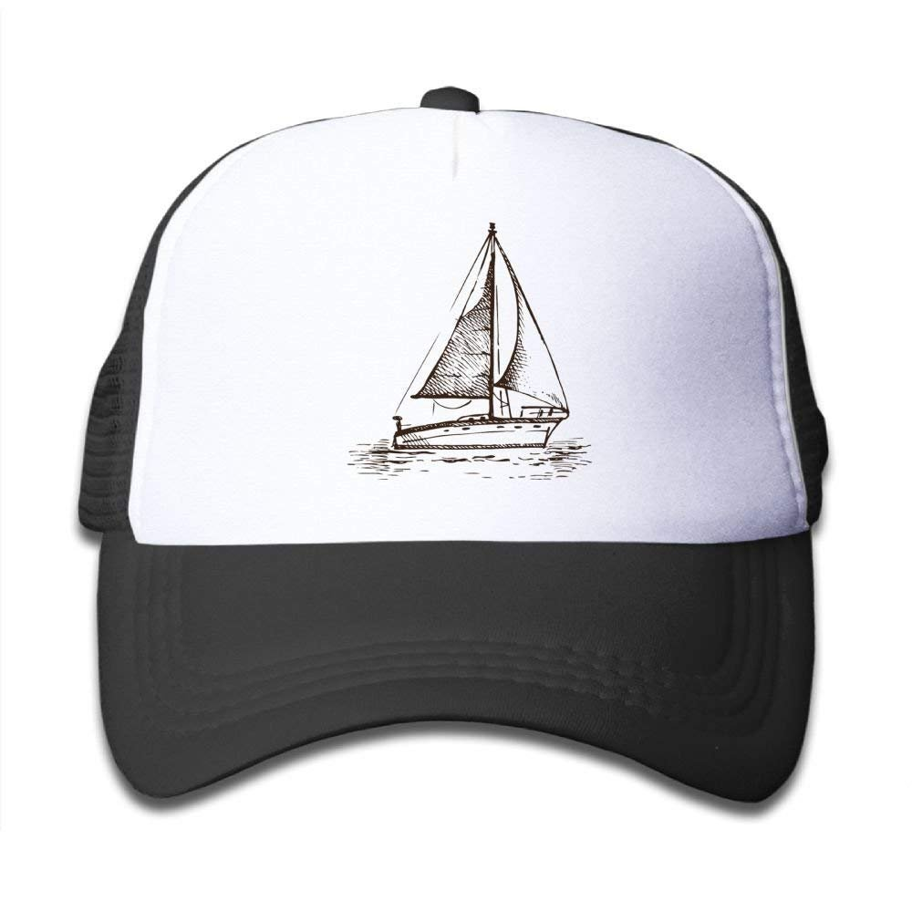 Black Mesh Baseball Caps Adjustable Toddler Hat Sailboat in The Sea Unisex