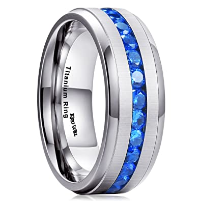 King Will GEM Men Women 8mm Titanium Engagement Ring Wedding Band