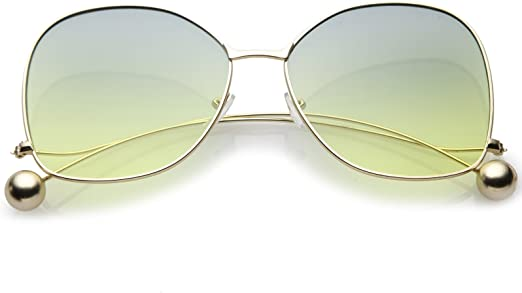 OVERSIZED Rimless Style Yellow Lens SUN GLASSES butterfly Upside Down Gold Frame