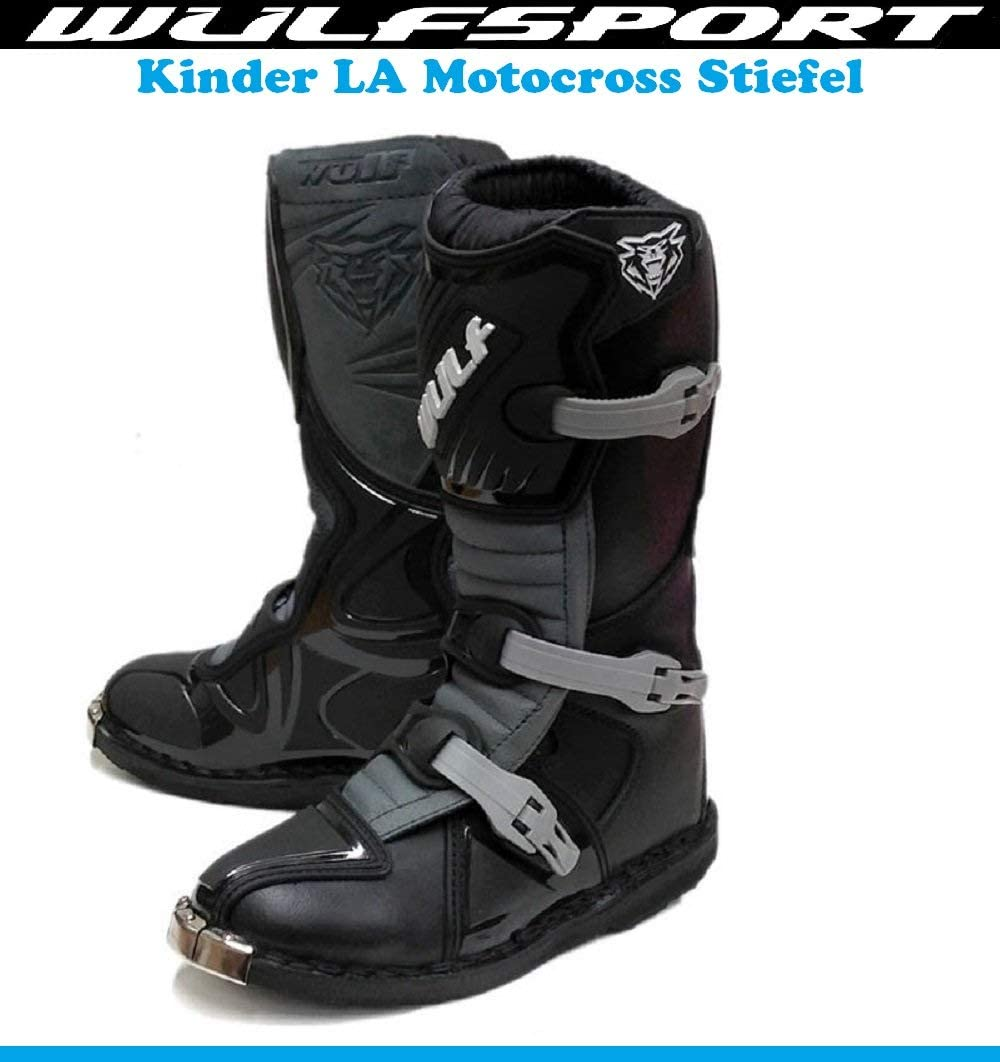 Kinder MotorradStiefel Wulf Junior Motocross Off-Road Quad Stiefel Sports Dirt Pit Bike MX Cross RennStiefel Kids LA Schwarz Boots