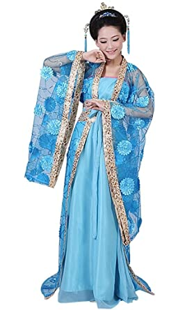 springcos Chinese Costume Fancy Dress Women Princess Dress Trailing Empress Blue  sc 1 st  Amazon.com : chinese costume dress  - Germanpascual.Com