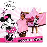 Disney Girl's Terry Cloth Minnie Mouse Hooded Bath Towel (Pink)