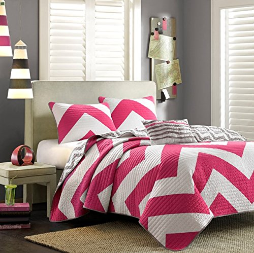Mizone Libra 4 Piece Coverlet Set, Full/Queen, Pink