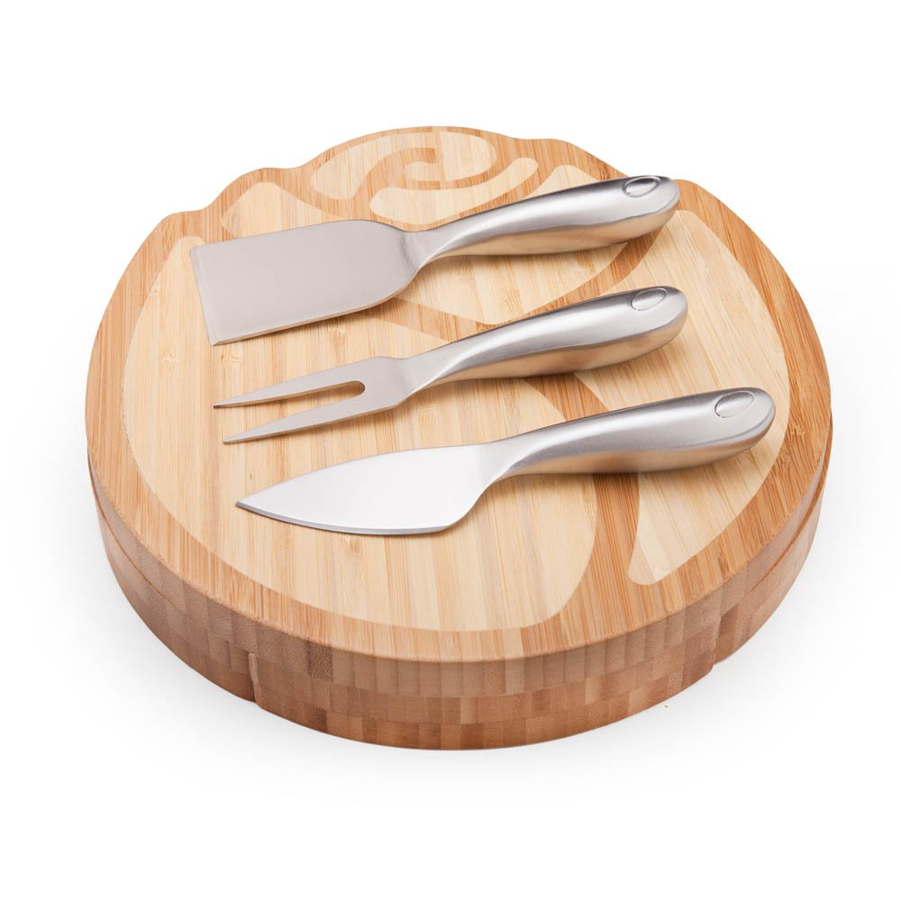 ILEAF Rose Bamboo Cheese Board with Slide Out Drawer and Cheese Tools, 4 Piece Set