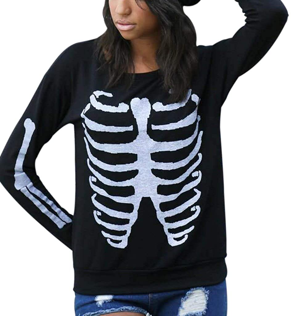 5f65c74e548 Included One Piece Sweatshirt Pullovers Whimsy Skeleton Printed Crew Neck  Long Sleeve Pullover