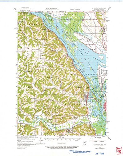 YellowMaps La Crescent MN topo map, 1:62500 Scale, 15 X 15 Minute, Historical, 1956, Updated 1966, 27.23 x 21.53 in - Polypropylene