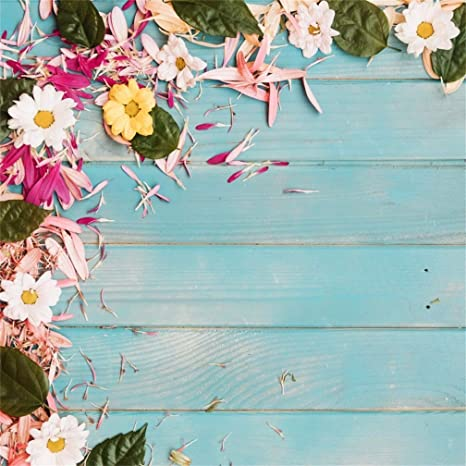 CdHBH Vinyl 5x5ft Photography Background Watercolor Painting Backdrop Color Flowers Spring Blossoms Leaves Cute Unicorn Pattern Children Baby Birthday Party Decorations Video Studio Props