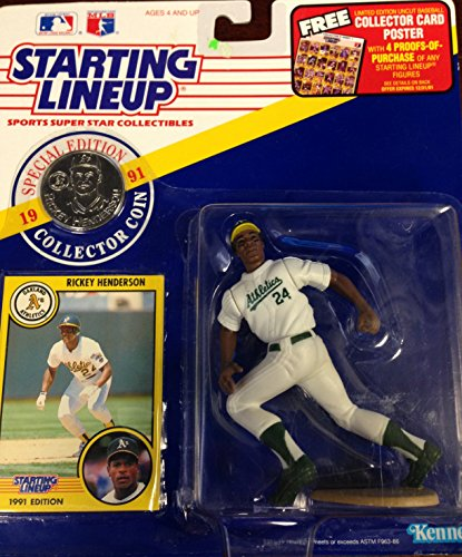 1991 Starting Lineup Rickey Henderson Figure with Collector Coin by Starting Lineup