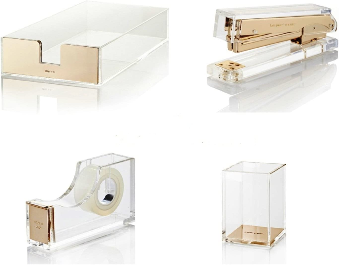 Bundle 4 Items Kate Spade New York Acrylic Desk Set