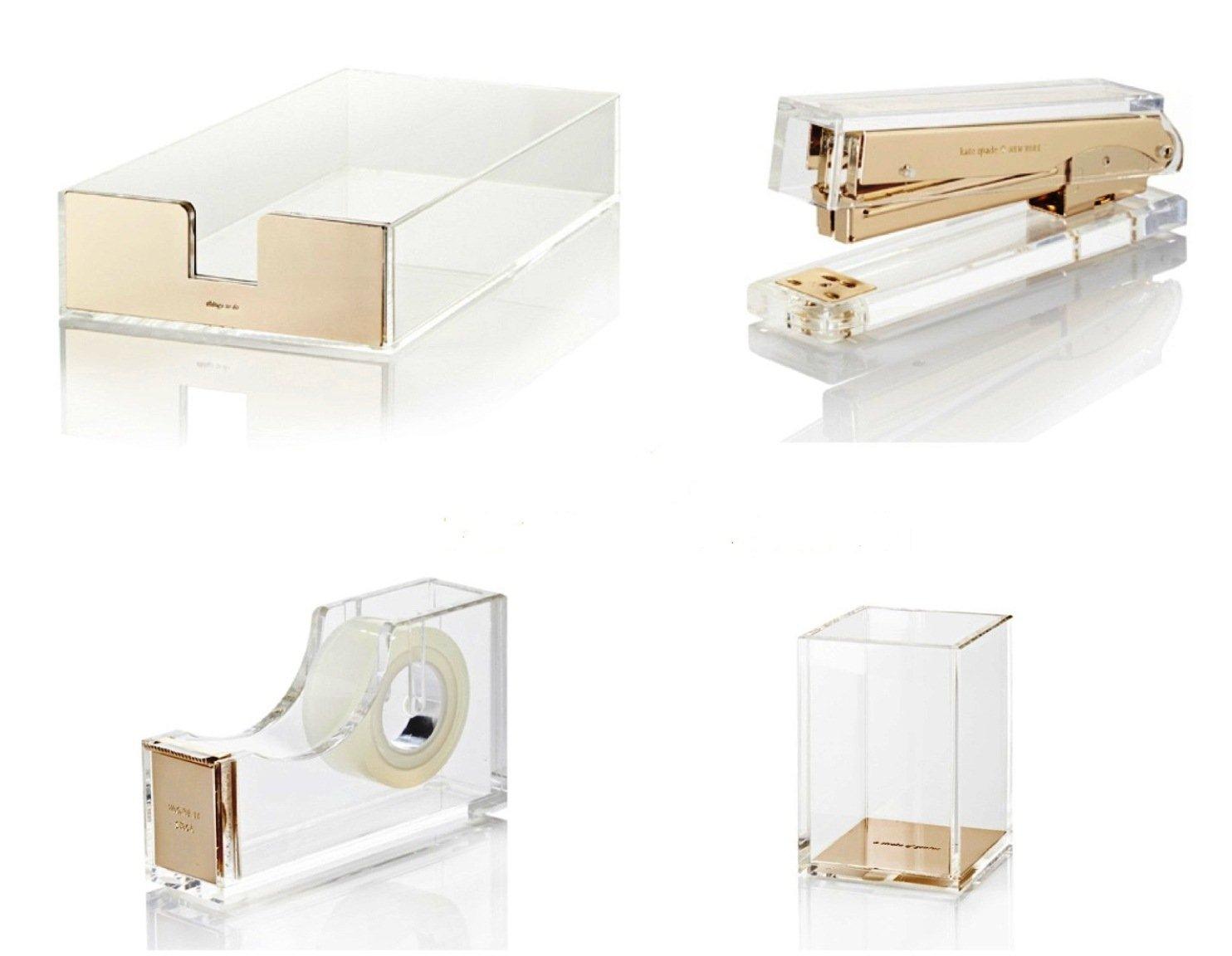 amazoncom bundle 4 items kate spade new york acrylic desk set office products acrylic office desk