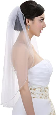 Ivory Elbow Pearls Sequin Silver Beaded Wedding Veil 1 Layer Bridal White