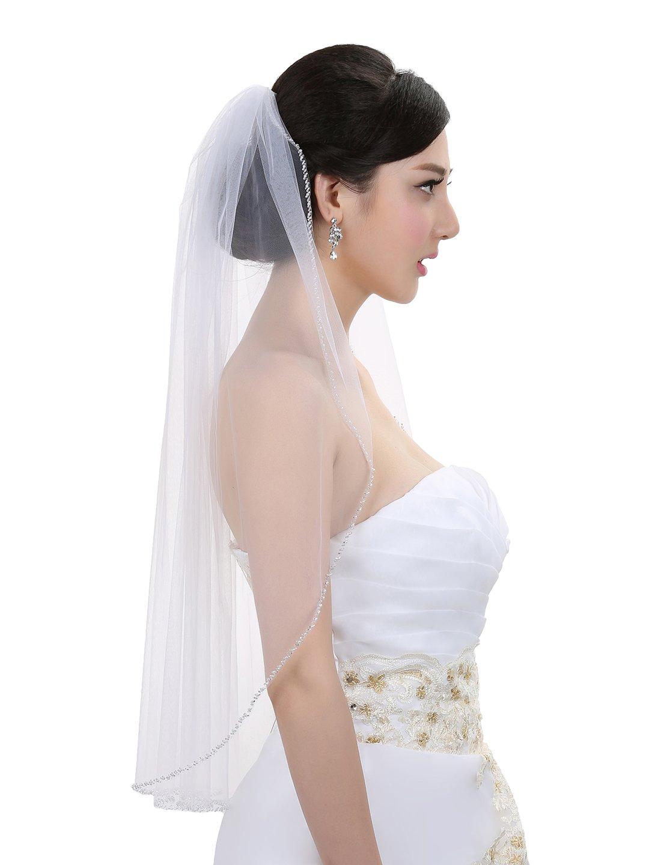 1T 1 Tier Pearls Bugle Beaded Wedding Veil V397 - Ivory Fingertip Length 36'' by SAMKY