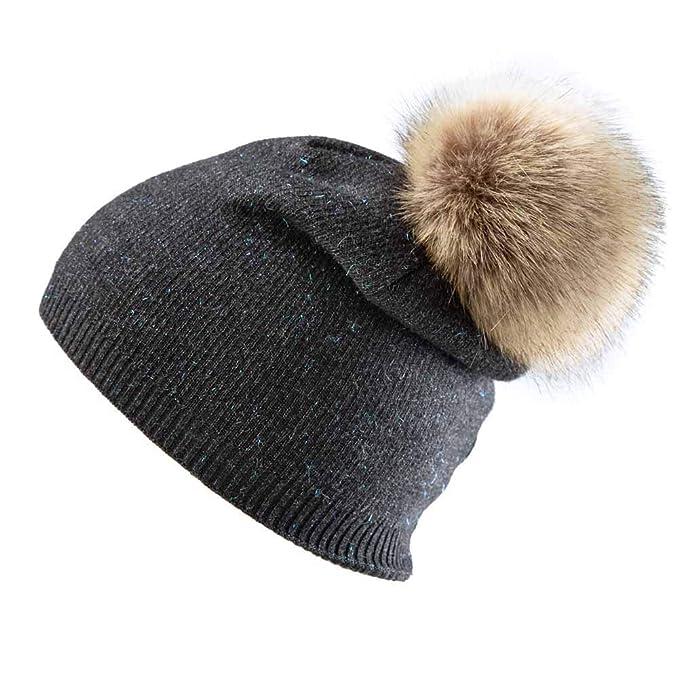 Inconly Beanie for Women Winter Knit Beanie Warm Pompom Hat Skull Ski Caps Deep Gray