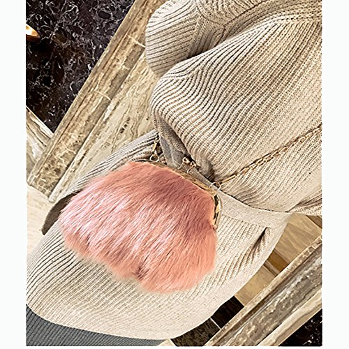 Pink Fashion Lock Crossbody Feather Soft Chain Mini Faux Fur Handbags Purse Fluffy Women Bags Shoulder Kiss rYr1wqZ4
