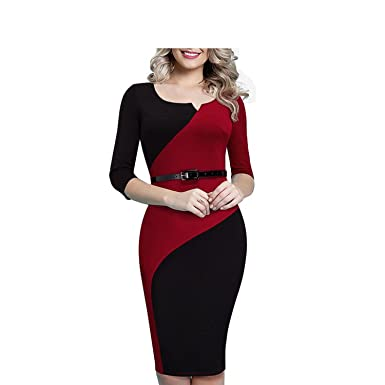 06f8e220dd Unique-Shop Women Casual Elegant Work Business Office Belted Colorblock  Contrasting Fitted Bodycon Pencil Dress