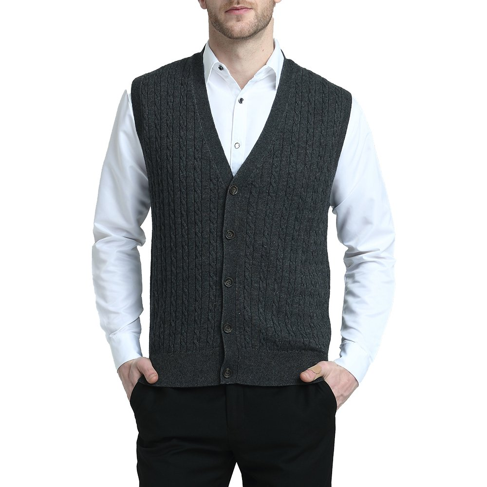 Kallspin Relaxed Fit Mens Cable Stripe V Neck Vest Sweater Cashmere Wool Blend Front Button (Charcoal, XL) by Kallspin