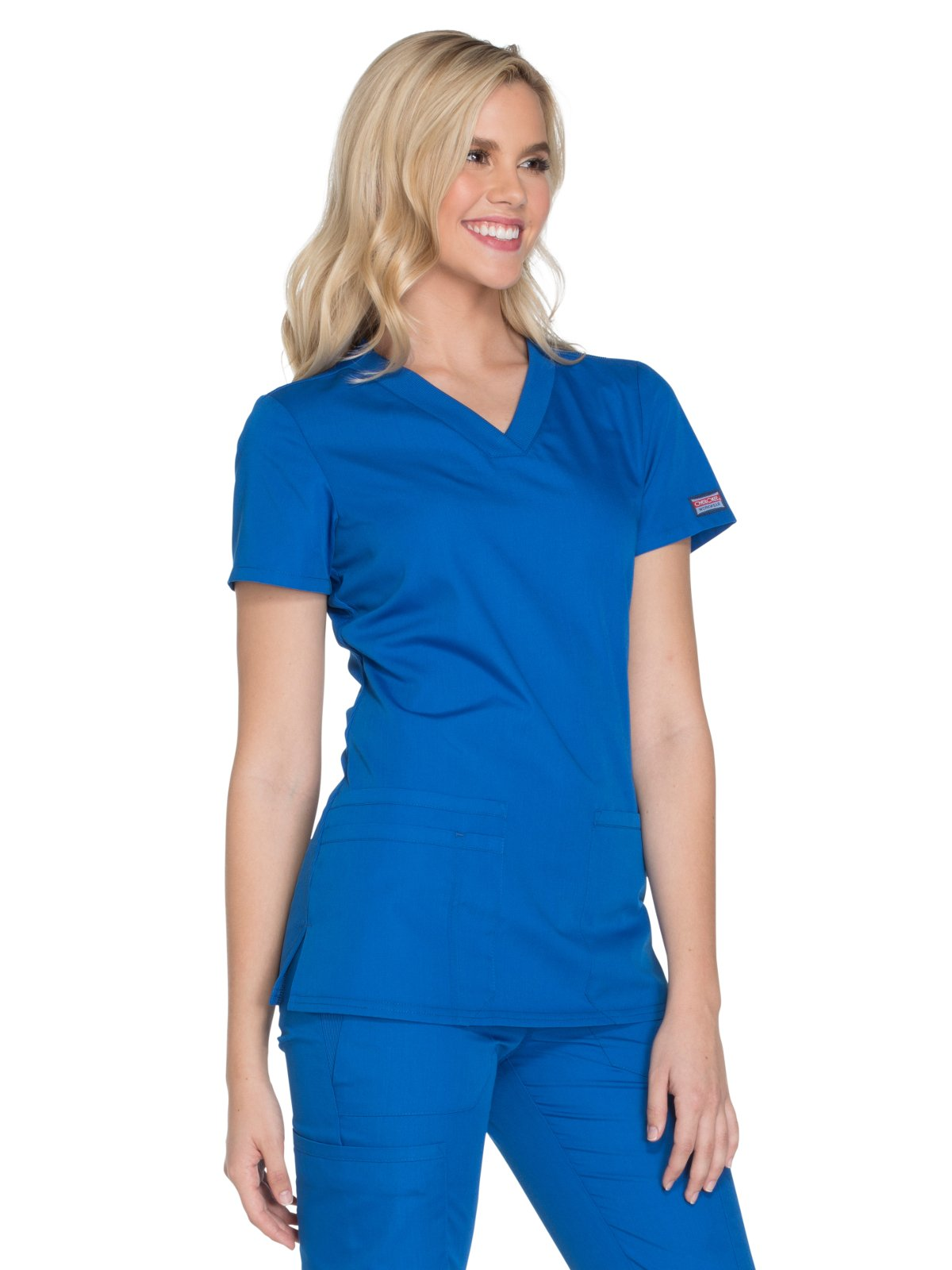 Cherokee Workwear Originals Women's Knit V-Neck Solid Scrub Top Large Royal