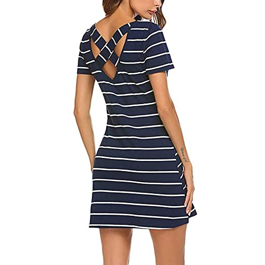 6ff6803787e7 Tronet Holiday Dresses for Women Casual Striped Criss Cross Short Sleeve T  Shirt Dress with Pockets