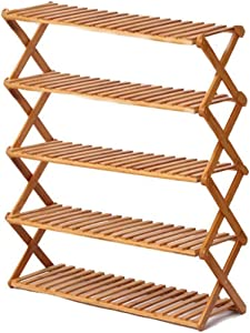 Rakumi Multi-Tier Foldable Bamboo Shoe Rack Multifunctional Free Standing Shoe Shelf Storage Organizer(5-Tier)