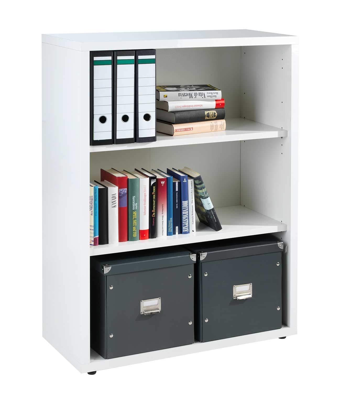 Regal Standregal Bücherregal Aktenregal 6 Fächer Weiß Hochglanz Dekor DELA 21
