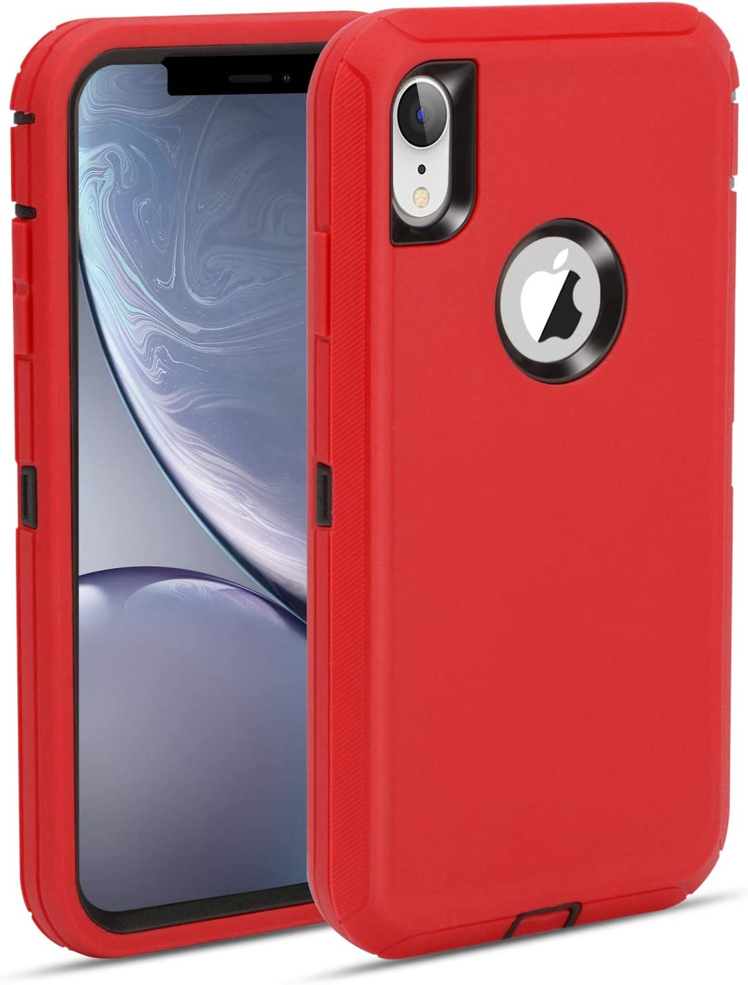 MAXCURY Defender iPhone XR Case, Heavy Duty Shockproof Full Body Protective Case Hard PC Bumper + Soft TPU Back Cover for iPhone XR Not Built in Screen Protector (Red/Black)