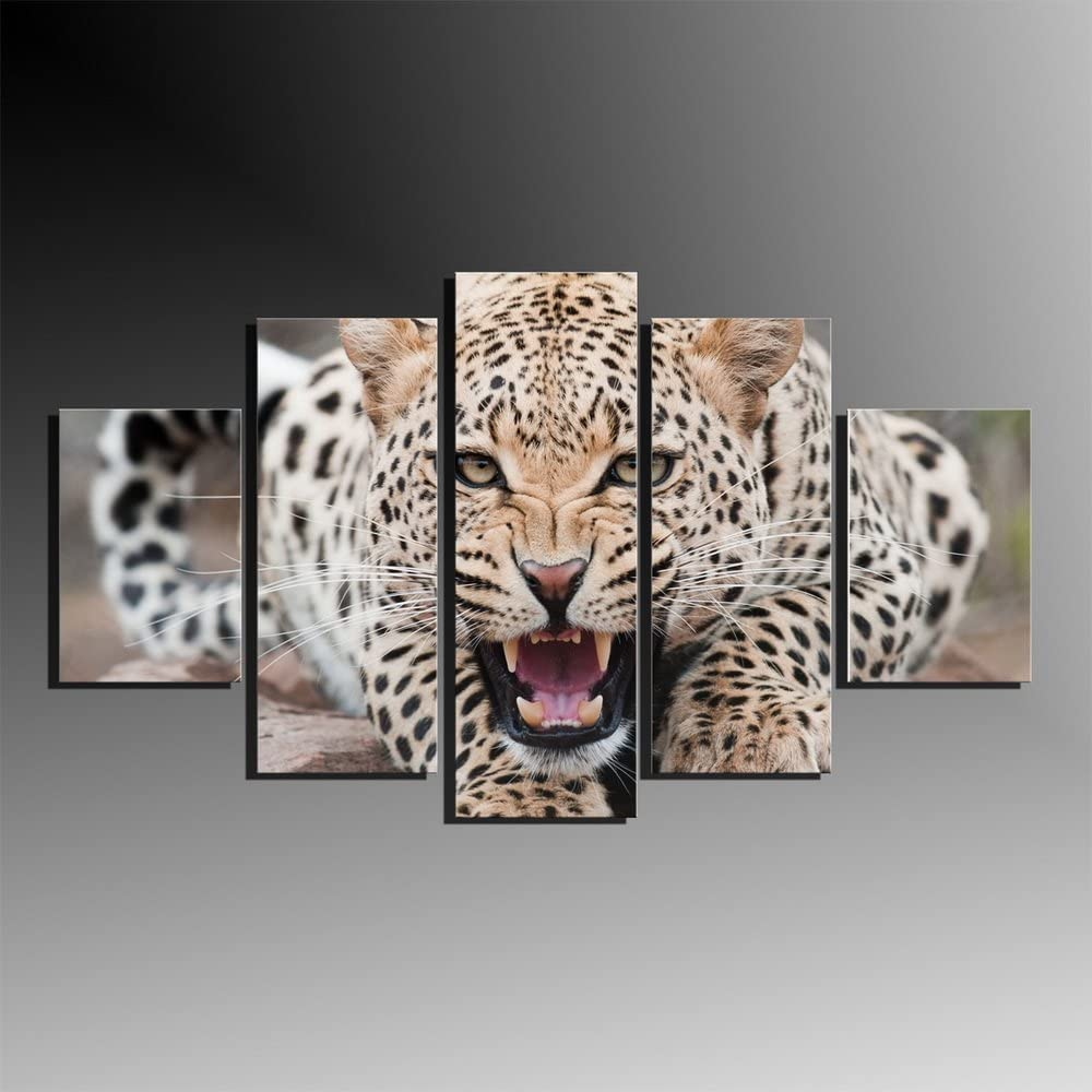 5 Panels Animal Canvas Print Painting Modern Canvas Wall Art Leopard Oil Painting for Wall Decor and Home Decoration Artwork Framed Ready to Hang