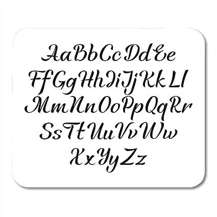 Amazon.com : Emvency Mouse Pads Italic Black Alphabet Handwritten ...