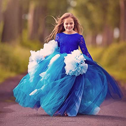 Vestidos de fiesta para niños pequeños Encaje completo de manga larga Dance Girl Flower Boy Blue