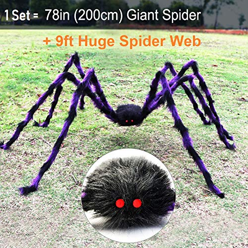 PETUOL Halloween Decorations, 6.6 Ft. 200cm Giant Scary Spider with 9 Ft Round Web Outdoor Decor Yard Decorations, Outdoor Yard Fake Hairy Poseable Spider Props, Stretch Spider White Web.