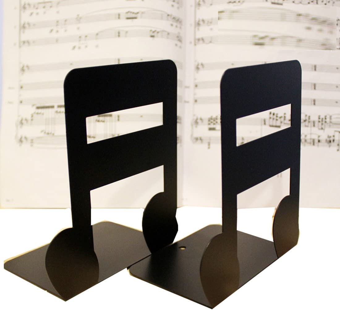 Winterworm A Pair of Music Theme Solid Metal Book Stand Bookends for Kids Music Lover Home Office Decoration (Semiquaver)